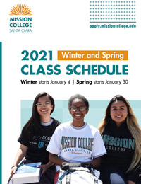 two female students in MC shirts on cover over 2021 schedule