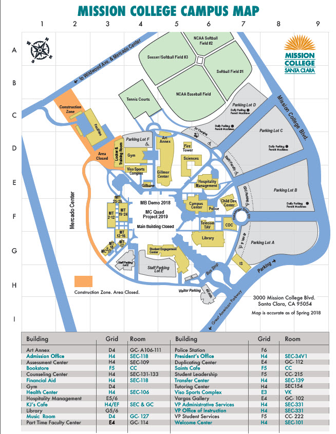 Mission College Campus Map