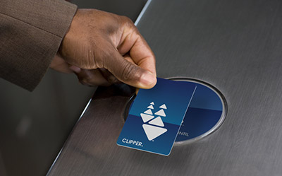 man using clipper card