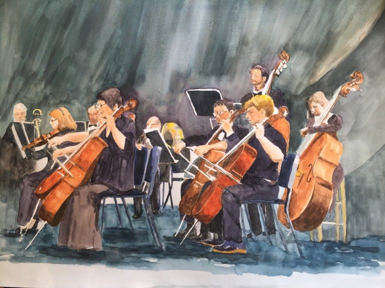 symphony orchestra in water colour